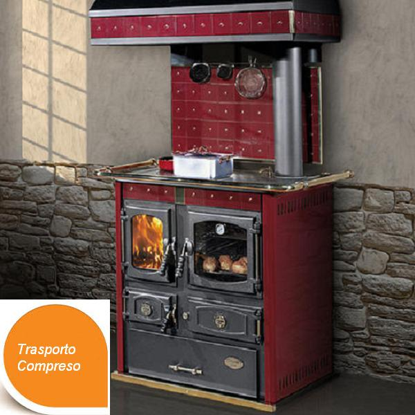 Stufa / cucina a legna mini Johanna rossa ditta Cola (esposizione) - Emporio della Natura